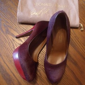 Donald J Pliner Xenia Oxblood Calf Hair Pumps